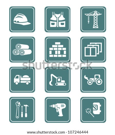 Construction tools, transportation, materials and more icon-set