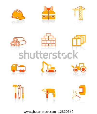 Construction tools, transportation, materials and more vector icon set in red-orange. - stock vector