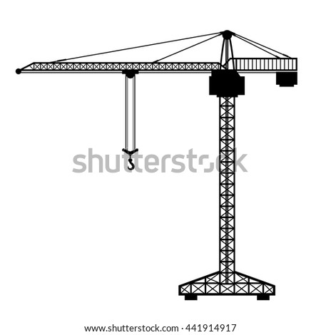 Construction tower crane, silhouette industrial lifting machine, vector