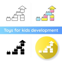 Construction toy icon. Building blocks. Colors and shapes learning toddlers toys. Children educational toys. Cognitive skills. Linear black and RGB color styles. Isolated vector illustrations