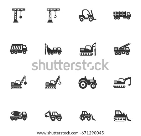 Construction transport vector icons for user interface design