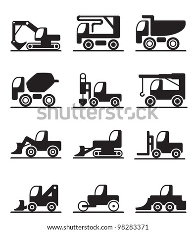 Construction  trucks and vehicles - vector illustration