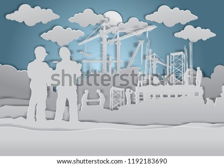 Construction vector background, Construction paper art style, Book Cover Design.