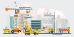 Construction vector flat illustration. Building poster in modern style.