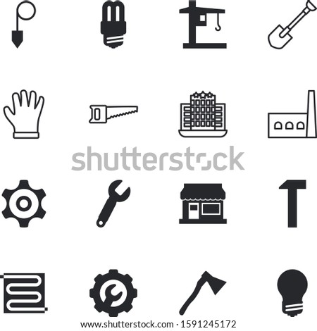 construction vector icon set such as: accurate, fabric, labor, cogwheel, warm, builder, head, pair, engine, mechanical, hanging, crop, temperature, hardware, pollution, mechanism, silhouette, scale
