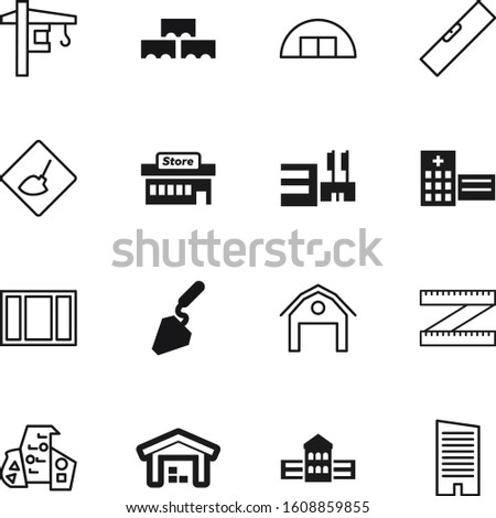 construction vector icon set such as: hardware, reconstruction, farming, play, masonry, measure, skyscraper, centimeter, spatula, warning, dig, town, surface, abstract, construct, engineering, mason