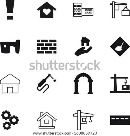 construction vector icon set such as: point, motion, attention, development, clinic, hands, tank, engine, draw, bank, rural, lifting, outdoor, reconstruction, library, cable, hangar, hazard, weld