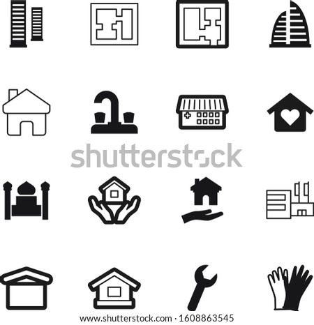 construction vector icon set such as: set, finger, tap, tool, glove, centre, kitchen, cross, technology, prayer, investment, small, islamic, hardware, conceptual, logistic, holding, culture