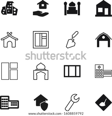 construction vector icon set such as: station, under, road, spatula, palm, neighborhood, instrument, site, builder, wall, interior, front, security, investment, man, reconstruction, board, shape