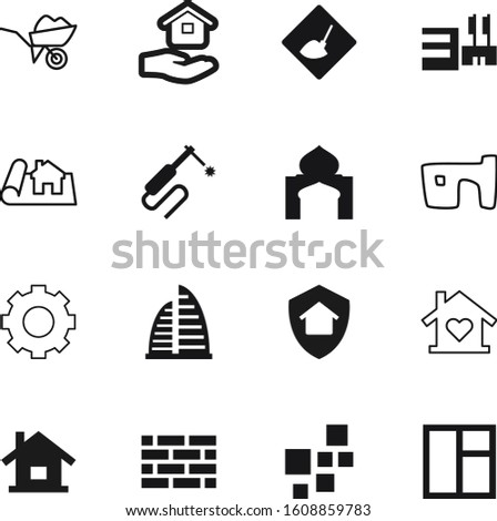 construction vector icon set such as: teamwork, reconstruction, slum, open, cement, dig, insurance, safety, investment, store, tool, weld, texture, motion, thin, mechanism, glass, skyscrapers, center