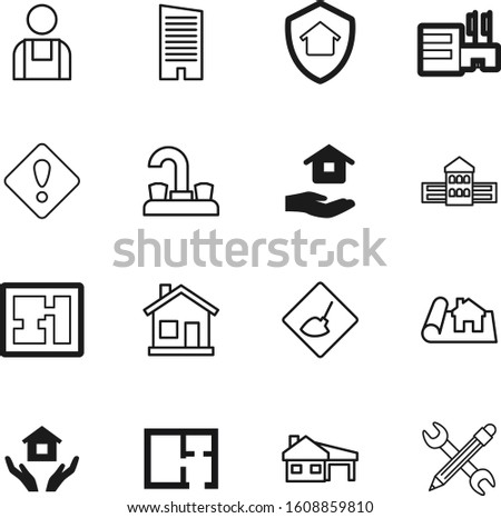 construction vector icon set such as: technician, faucet, triangle, image, protection, drink, library, outline, fresh, center, retail, label, error, engineer, reconstruction, designer, bank, safe