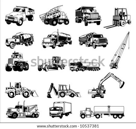 construction vehicles - vector collection - stock vector