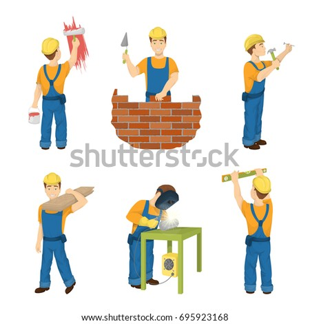 Construction work set on white background. Builders in hardhat with working tools.