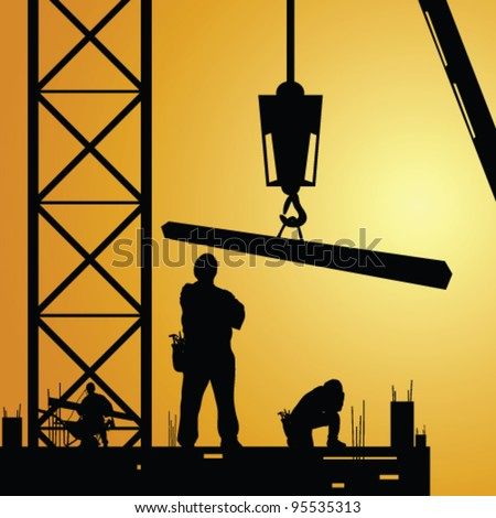 construction worker at work with crane illustration