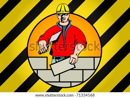 construction worker building brick wall - stock vector
