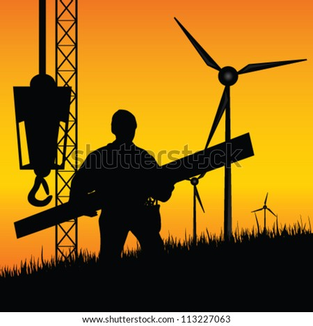 construction worker builds windmills vector illustration on a color background