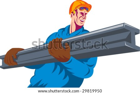 Construction worker carrying an i-beam