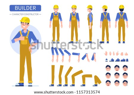 Construction worker character  for animation. Front, side and back view.  Flat style vector illustration isolated on white background.