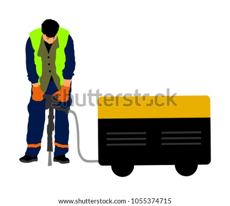 Construction worker electric drill Drilling concrete driveway with jackhammer, ground in construction area. Man repairing road surface with heavy duty machine. mason drilling cement concrete. sidewalk