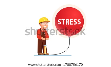 Construction worker excessive stress concept. Frowned grinnig man pumping big overblown stress balloon bubble with pump creating explosive pressure & dangerous risk. Flat vector character illustration Сток-фото ©