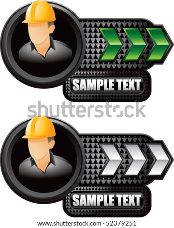 construction worker green and white arrow nameplates