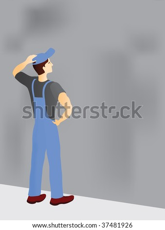 construction worker hesitating near dusty wall