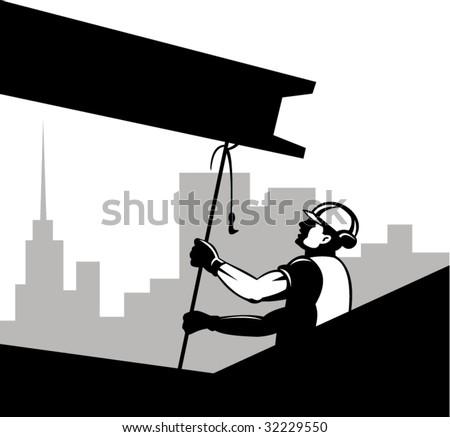 construction worker hoisting a