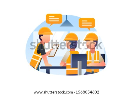 Construction Worker Is In A Meeting With The Chief Foreman Illustration Vector