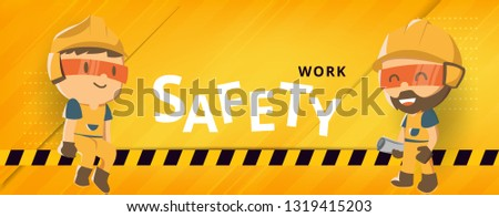 Construction worker repairman banner, safety first, health and safety, vector illustration