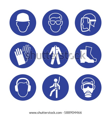 Royalty Free Safety Wear Signs Goggles Harness 508546306 Stock