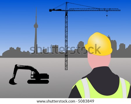 Construction worker with machinery and crane at Toronto building site