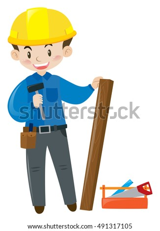 Construction worker with toolbox illustration