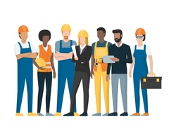 Construction workers and engineers standing together, construction industry concept