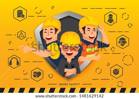 Construction workers and engineers team working together and network of concepts : Work Safety  Foto stock ©