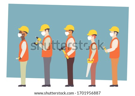 Construction workers in white medical mask during coronavirus COVID-19 pandemic. Workers with various building tools. EPS 10.