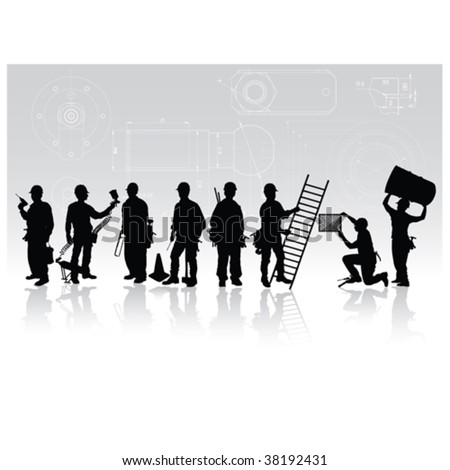 Construction workers silhouettes with different tools on technical background