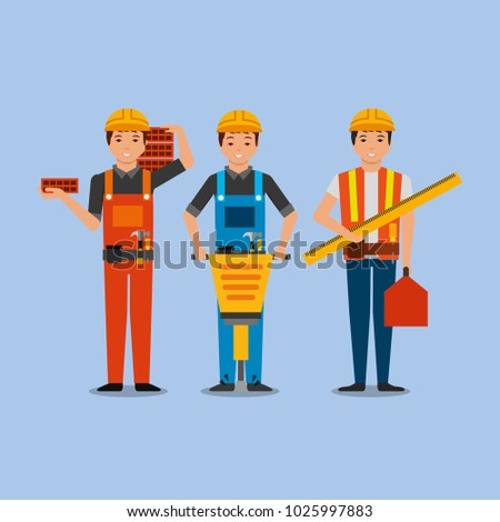 construction workers with jackhammer bricks toolkit