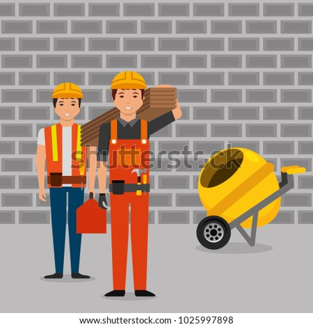 construction workers wooden board toolkit and mixer concrete