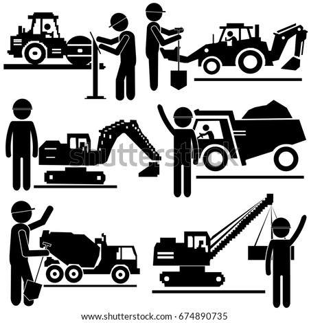 Construction Working Process. Stick Figure Pictogram Icon
