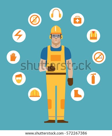 Construction working surrounded by workplace safety icons
