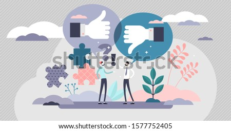 Constructive criticism vector illustration. Opinion discussion in flat tiny persons concept. Symbolic like or dislike suggestion for correct rating and judgement. Positive or negative client reaction.