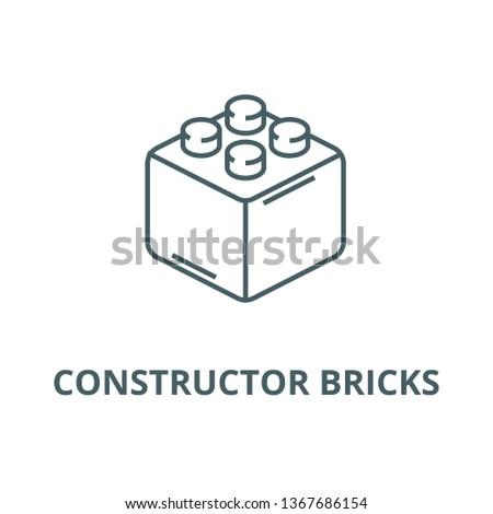 Constructor bricks line icon, vector. Constructor bricks outline sign, concept symbol, flat illustration