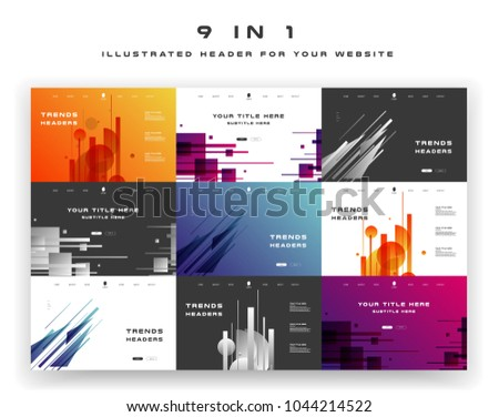 Constructor for your site, ui kit. Flat design web elements for header and slider. Navigation on illustrated abstract background with gradients