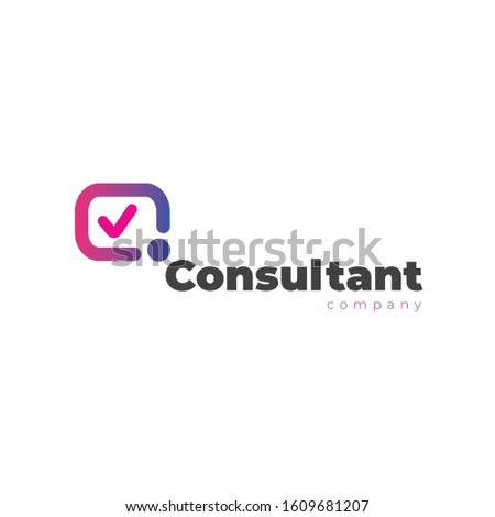 Consultant company logo embraces modern check, man, client head as circle icon and message icon in logotype means supporting clients for their business career