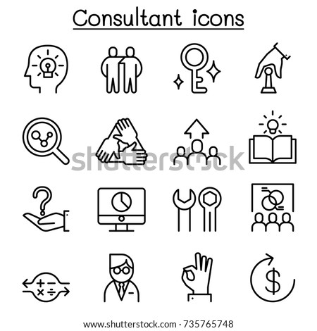 Consultant & Expert icon set in thin line style