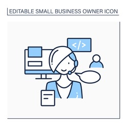 Consultant line icon. Wordpress website consultant. Client support. Basic coding and infrastructure. Small business owner concept. Isolated vector illustration. Editable stroke