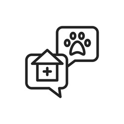 Consultation with veterinarian line black icon. House call. Isolated vector element. Outline pictogram for web page, mobile app, promo.