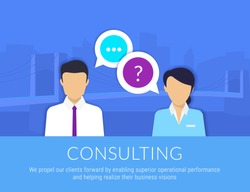 Consulting business advise. Businessman and consultant with speech bubbles. Vector illustration of consult expert services for financial and analytics support. Flat icon of expert consult advise