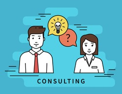 Consulting business. Flat line contour illustration of business woman and male consultant with question and idea speech bubbles