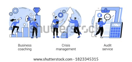 Consulting company abstract concept vector illustration set. Business coaching, crisis management, audit service, goal achievement, mentoring, risk management, accounting firm abstract metaphor.